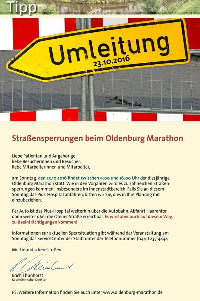 Straßensperrungen beim Oldenburg Marathon am 23. Oktober 2016